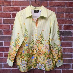 Bob Mackie Wearable Art Floral Button Down. Sz LG